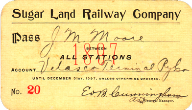 1897 Sugar Land Railway pass