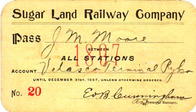 1897 Sugar Land Railway pass