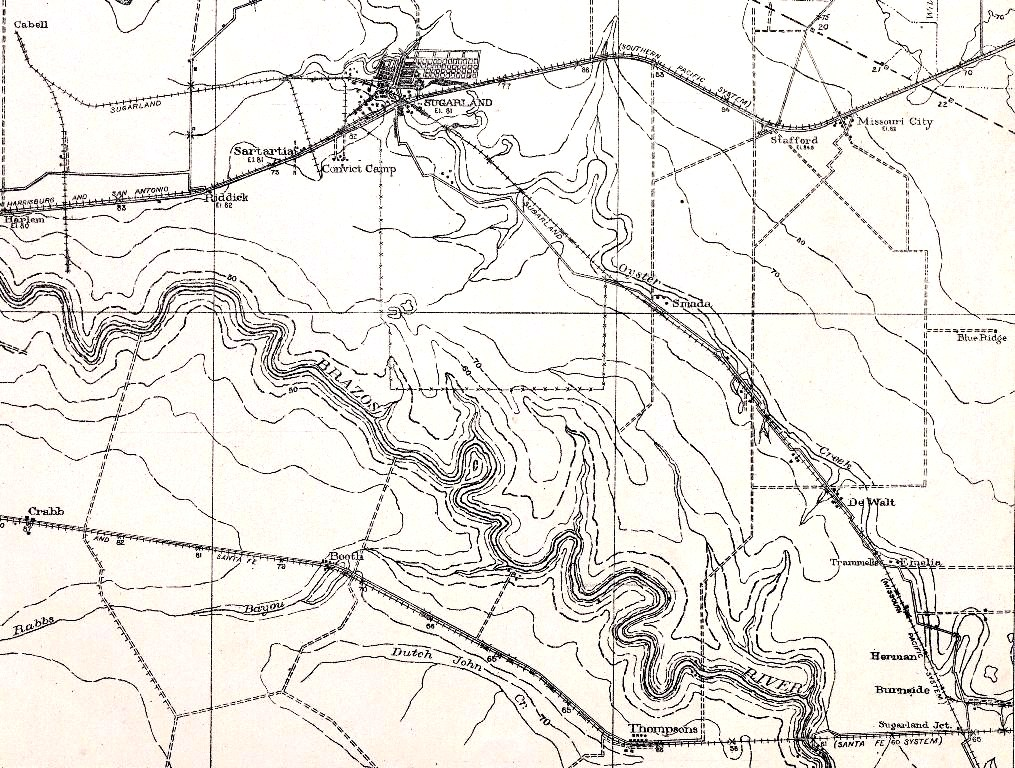 1915 Sugar Land topo map