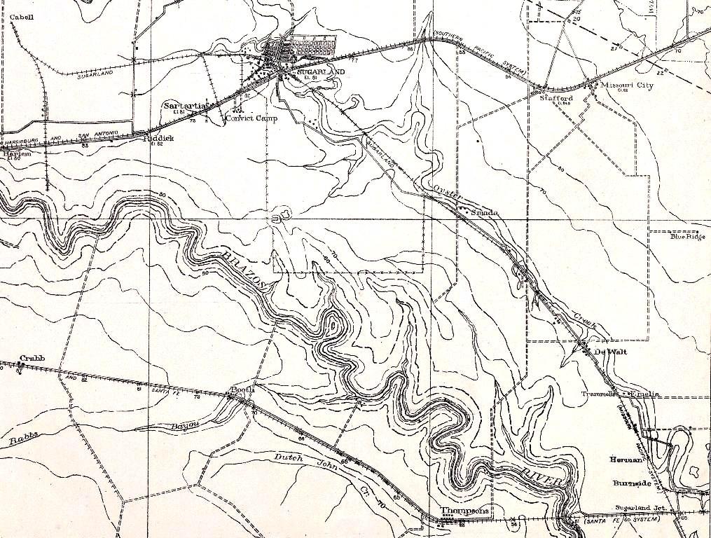 1915 Sugar Land topo map